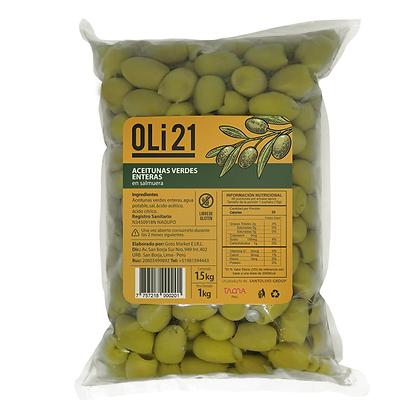 Aceitunas verdes enteras OLI21 1 kilo