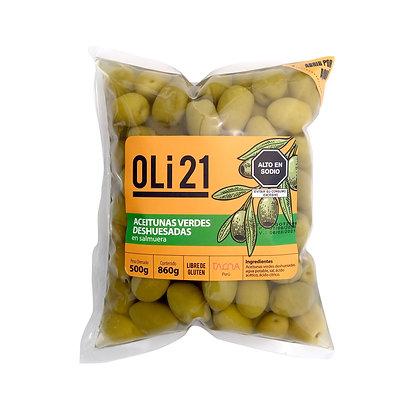 Aceitunas verdes deshuesadas OLI21 500g