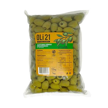 OLI21 1 kilo Aceitunas verdes deshuesadas