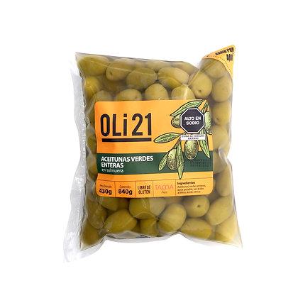 Aceitunas verdes enteras OLI21 430g