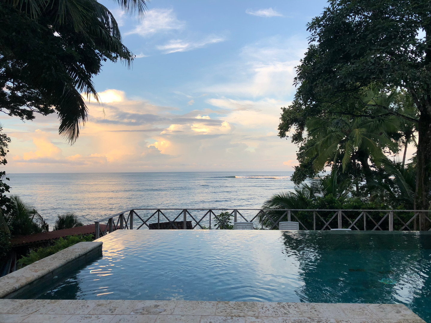 Sunrise over the infinity pool at Hotel Santa Catalina, Veraguas, Panama