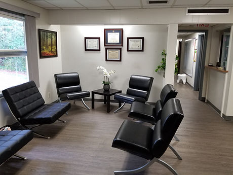 Dentist waiting area modern contemporary waterbury ct for family pediatric general and cosmetic dental care at Chase Parkway Dental