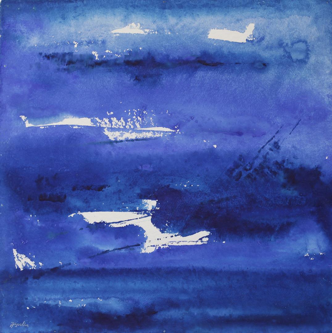 Bleu sur papier torchon