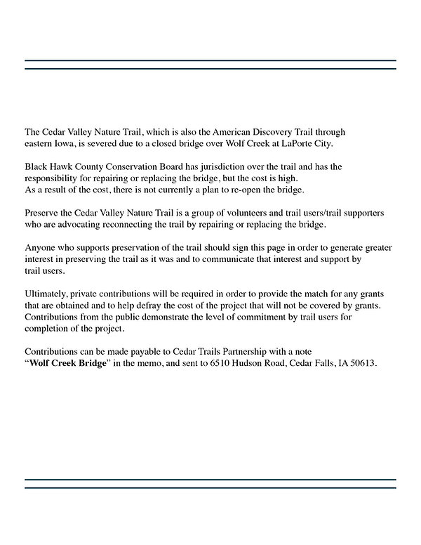 Cedar Valley Natre Trail support statement.