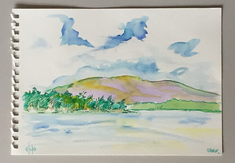 Red Hill , Squam NH. Water Color l