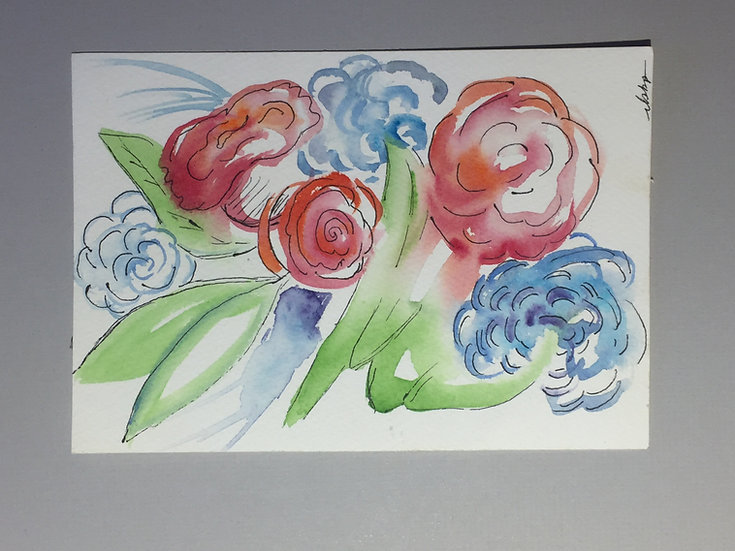 Floral Water Color - Horzontal or Vertical
