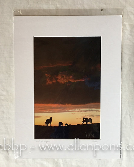 Medium Matted Print.  Storm cloud sunset print