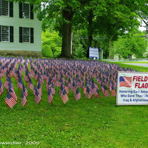 Field of Flags presented on the Churches front lawn, honoring those who gave their life.