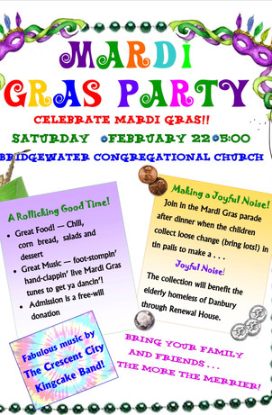 Mardi Gras Party in Friendship Hall to benefit the Renewal House in Danbury