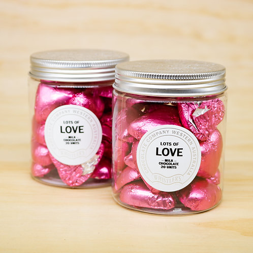 Milk Chocolate Heart Jar 20 Units - Pink