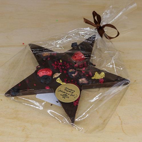 Dark Chocolate Star with Strawberry, Raspberry, Blueberry & Gold leaf 90g