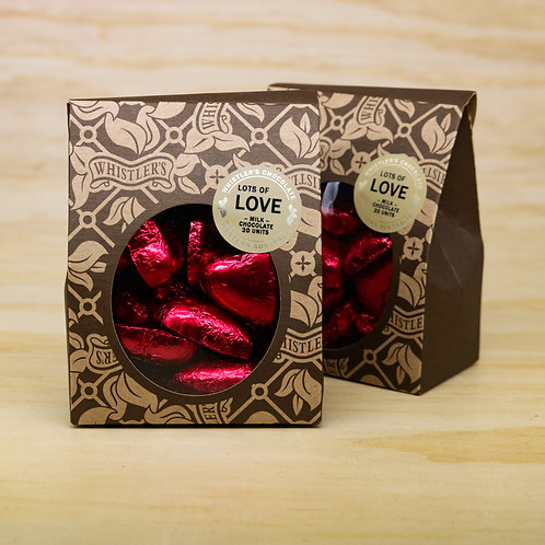 Milk Chocolate Heart Box 20 Units - Red