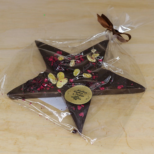 Dark Chocolate Star with Blackberry, Raspberry & Pistachio 90g
