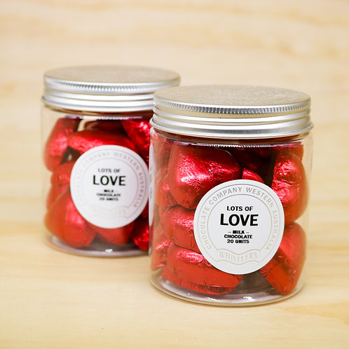 Milk Chocolate Heart Jar 20 Units - Red