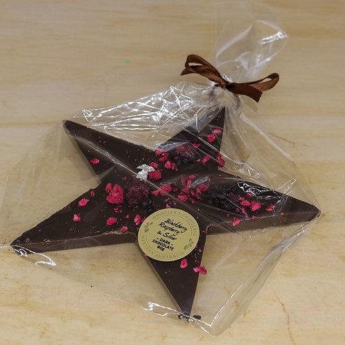 Dark Chocolate Star with Blackberry, Raspberry & Silver leaf 90g