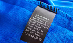 Clothing label with care instructions on