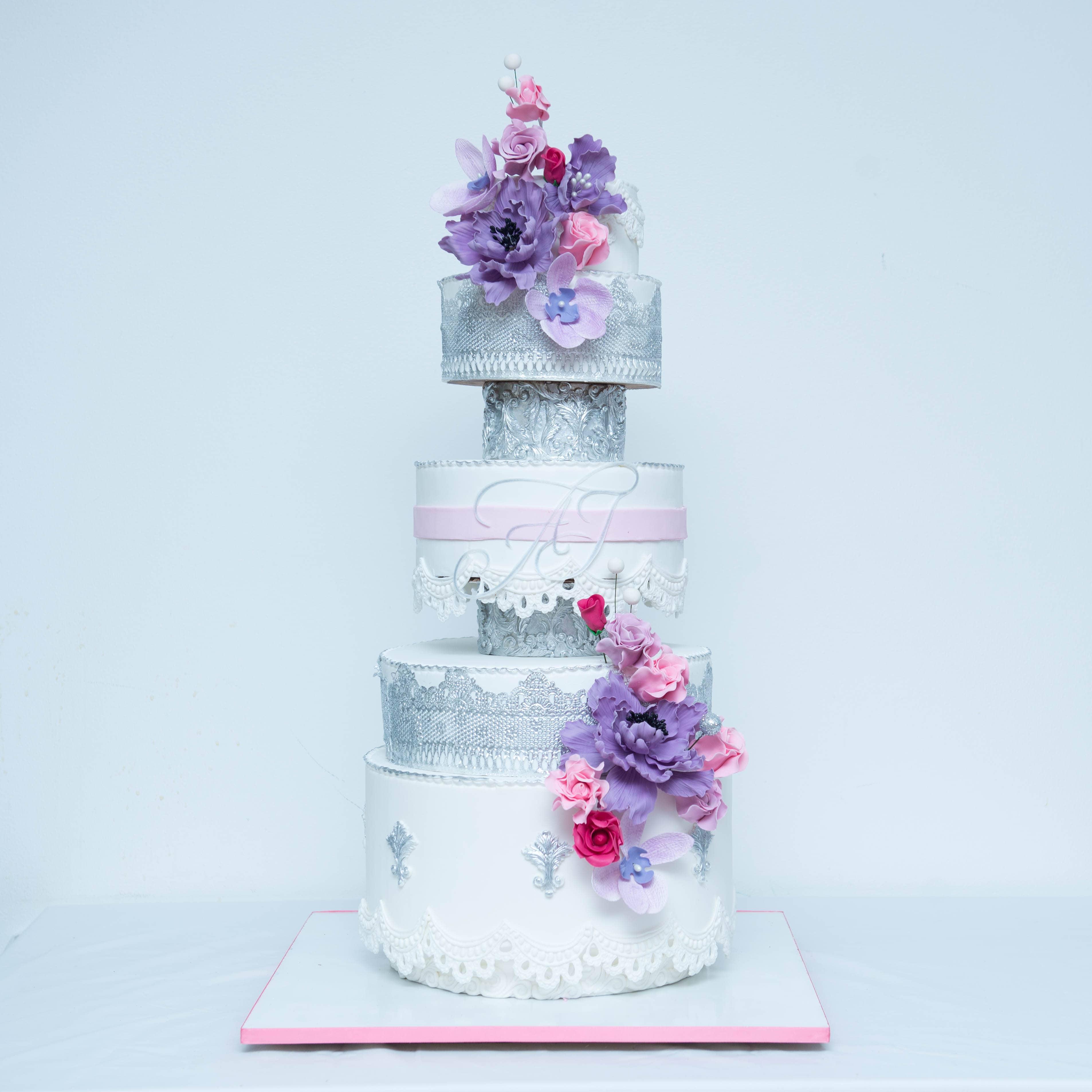Silver Baroque themed wedding cake