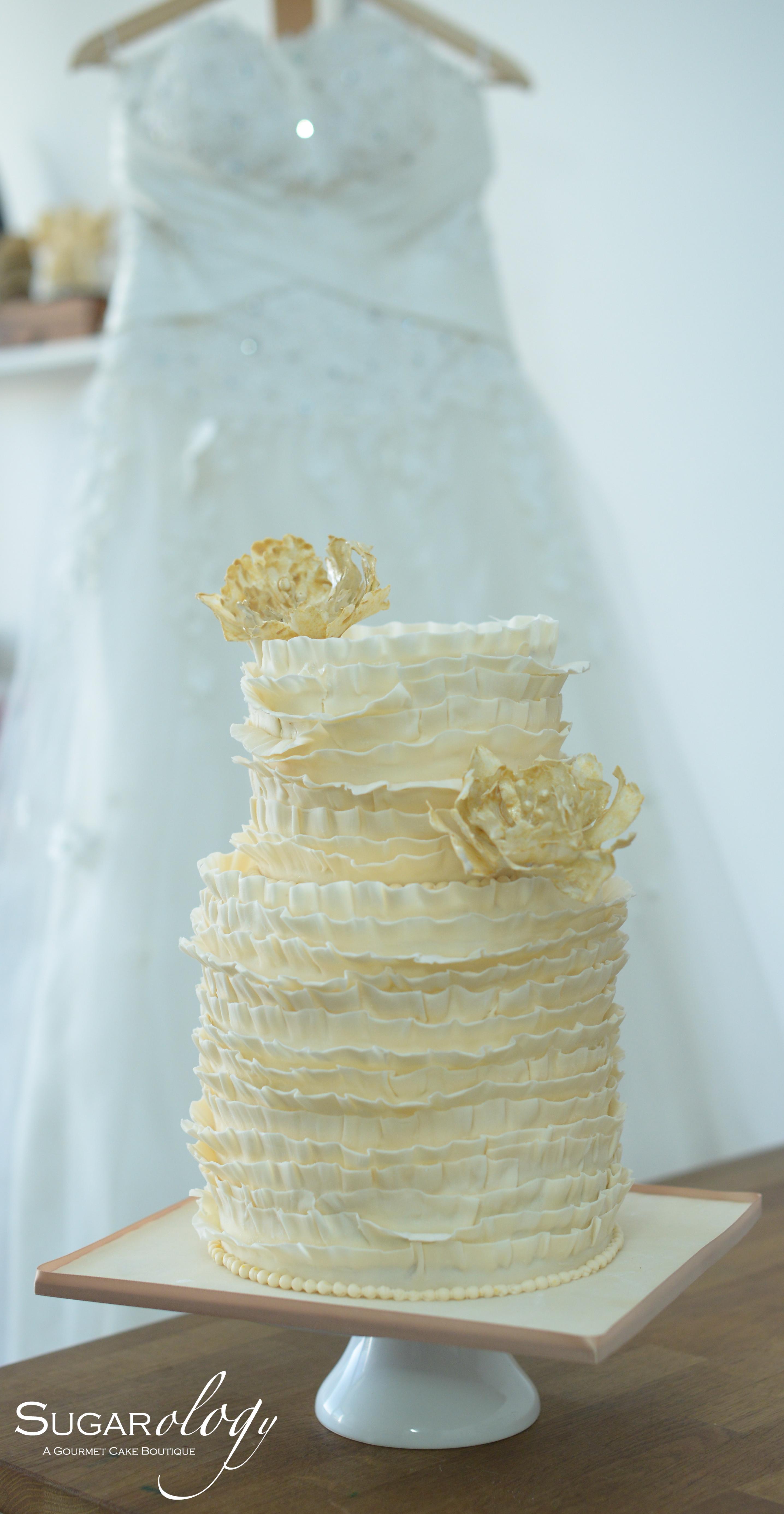 Ivory Ruffle Wedding cake with Peony