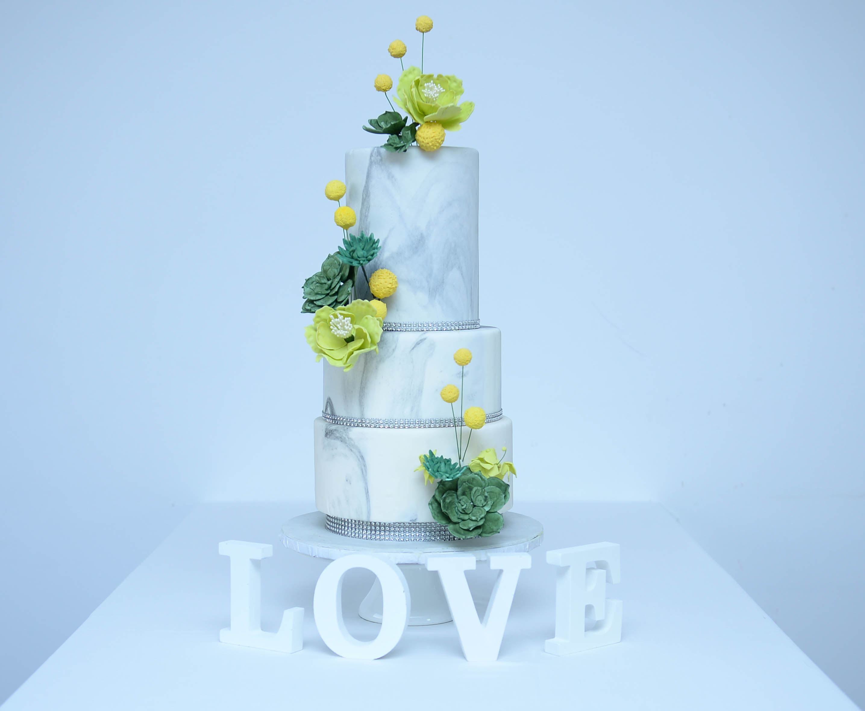 Marble wedding cake with succulent