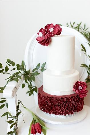 marsala ruffle wedding cake