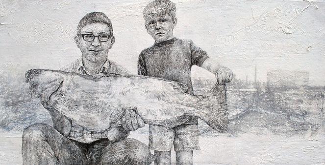 Vater,Sohn_und_Fisch,30x60cm,Bleistift,Ö