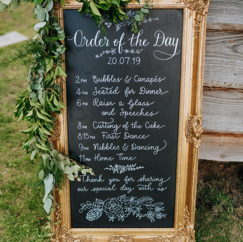 Order of the Day chalkboard