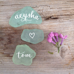 Sea glass place cards