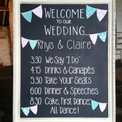Wedding welcome chalkboard