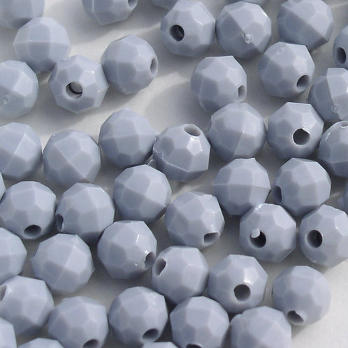 Opaque Grey 10mm Faceted Beads