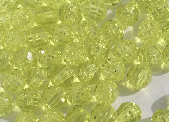 Transparent Yellow 10mm Faceted Beads
