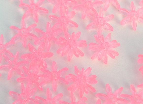 18ct: 25mm Transparent Pink Starflake Beads
