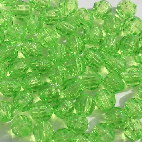 Transparent Lime 12mm Faceted Beads