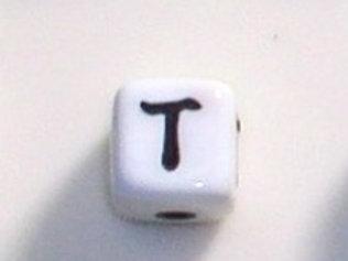12mm x 12mm Cube Alphabet Beads - T