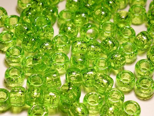 Transparent Lime Glitter Pony Beads