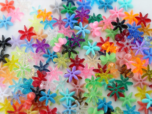 18mm Transparent and opaque Assorted Star Beads