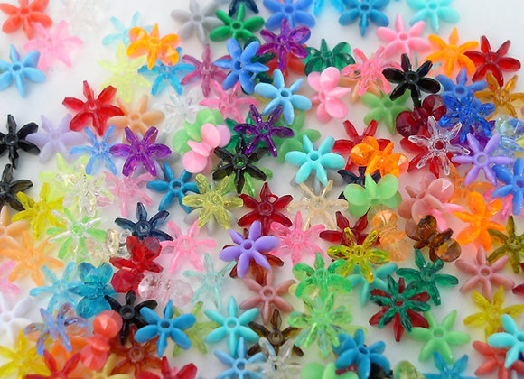 10mm Transparent and Opaque Assorted Colors Starflake Beads