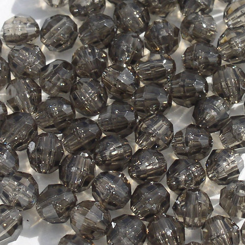 Transparent Jet Black 8mm Faceted Beads