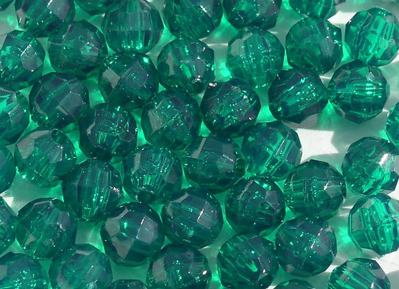 Transparent Emerald 10mm Faceted Beads