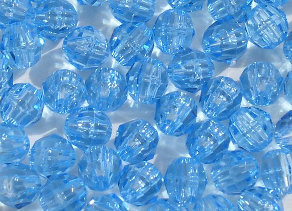 Transparent Light Blue 8mm Faceted Beads