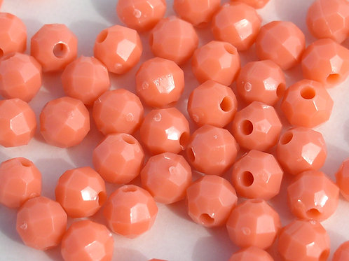 Opaque Coral 10mm Faceted Beads