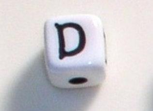 12mm x 12mm Cube Alphabet Beads - D