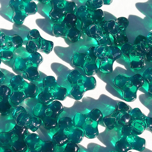 Transparent Emerald Tri Beads