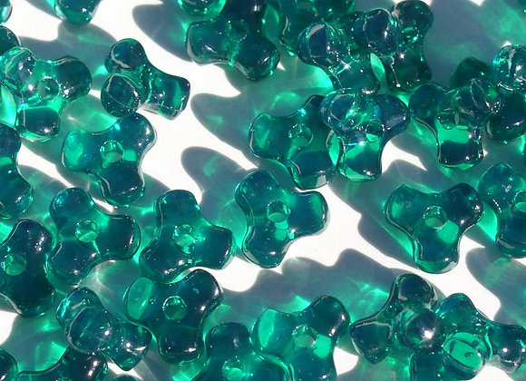 Transparent Emerald Tri Beads