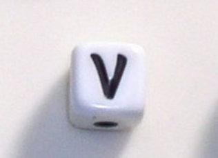 12mm x 12mm Cube Alphabet Beads - V