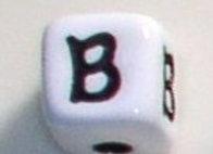 12mm x 12mm Cube Alphabet Beads - B