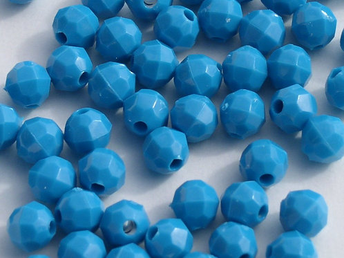 Opaque Turquoise 8mm Faceted Beads