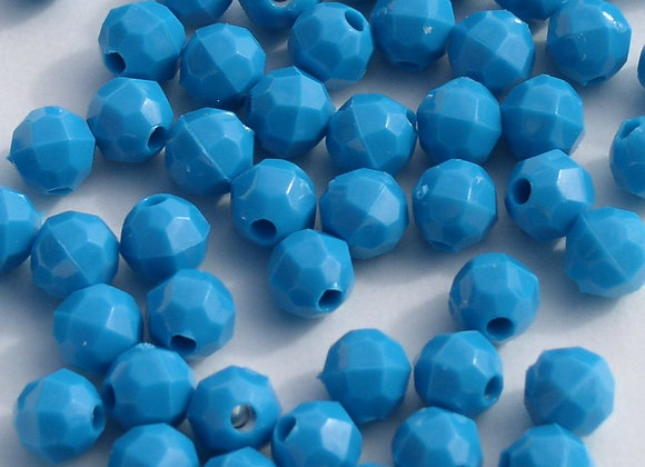 Opaque  Turquoise 6mm Faceted Beads