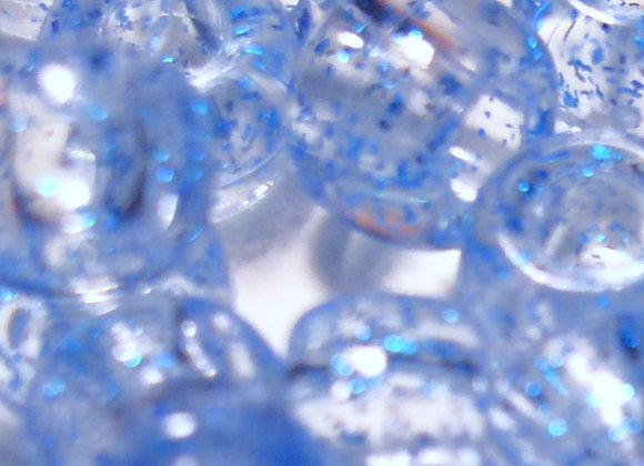 Transparent Blue Glitter Pony Beads