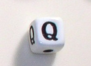 12mm x 12mm Cube Alphabet Beads - Q