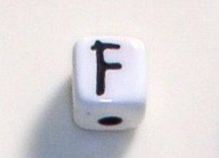 12mm x 12mm Cube Alphabet Beads - F
